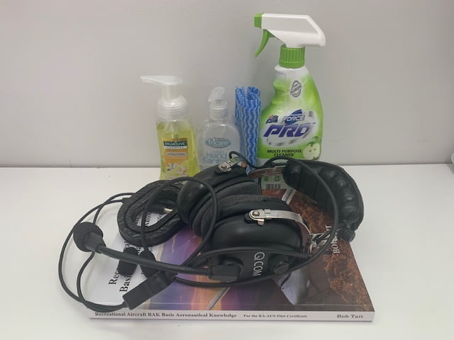 Sanitiser and headsets